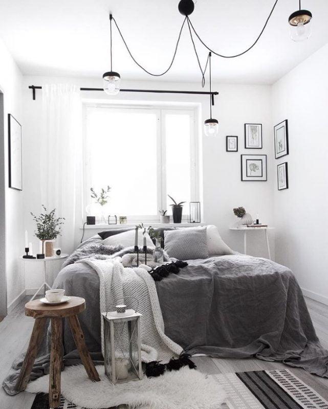 Makuuhuoneen rento ja kodikas tyyli