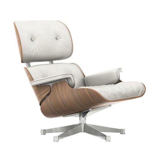 Vitra Lounge Chair nojatuoli, pähkinä-valkoinen